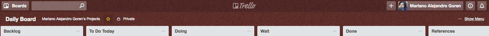 My personal Kanban organization on Trello